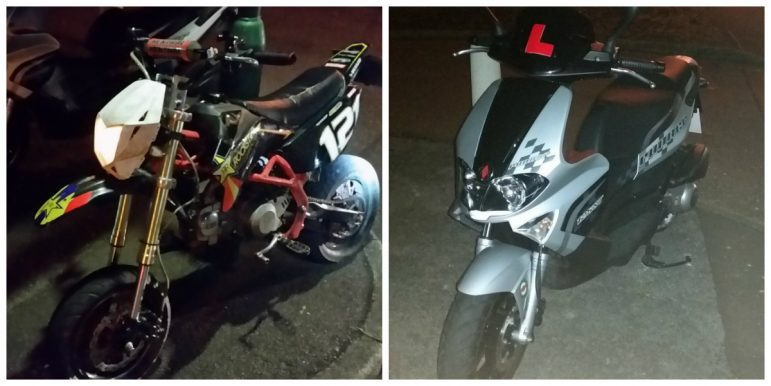 Bikes seized in the police operation. s